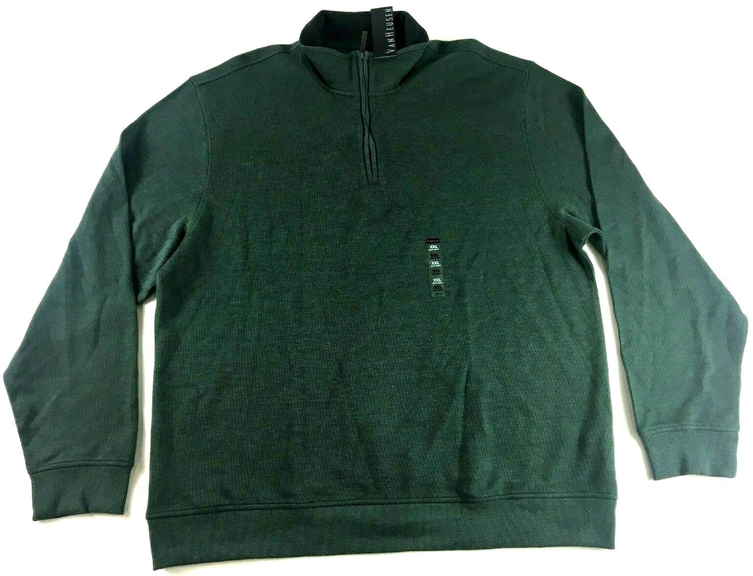 Van Heusen New Mens Green Long Sleeve 1 4 Zip Sweater Size 2XL