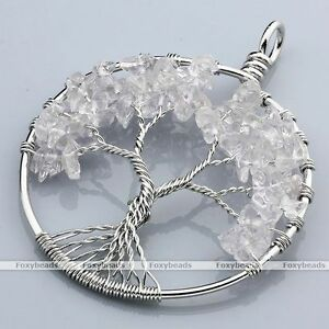 1X-Rock-Crystal-Tree-Of-Life-Life-tree-Chip-Beads-Wire-Wrap-Pendant-fit-Necklace