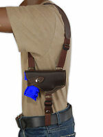Barsony Brown Leather Horizontal Shoulder Holster S&w M&p Shield W/ Laser