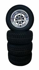 """10"""" GOLF CART TIRES Machined Wheels and 205/50-10 Low Profile DOT Tires (4)"""
