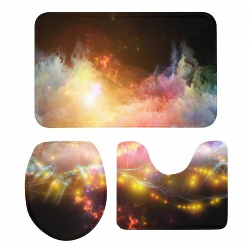 3PCS Anti-Slip Bathmat Rugs Galaxy Print Bathroom Washroom Set Lid Toilet Cover