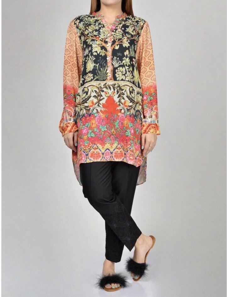 Limelight Original-Latest Design 2019-Printed Grip Shirt-Pakistani Wear Size M