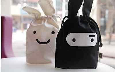 Süße Kosmetiktasche Stiftetasche Stoff weiß schwarz Tasche Damen Style