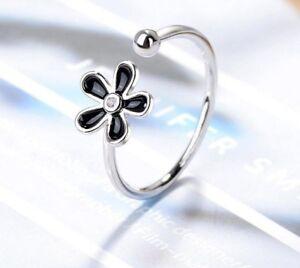 Damen-Ring-925-Silber-Ringe-Blume-Bluete-Verstellbar-925er-Schwarz-NEU