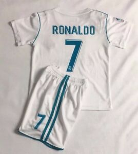 new styles 02105 fbfb1 Details about New 2018 Kids Soccer Jersey Real Madrid Cap Home #7 Ronaldo  Kit Top+Short Set