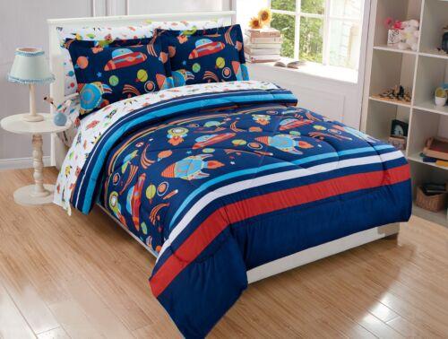 Fancy Linen 7pc Queen Size Solar System Comforter Set Navy Blue Red Orange New