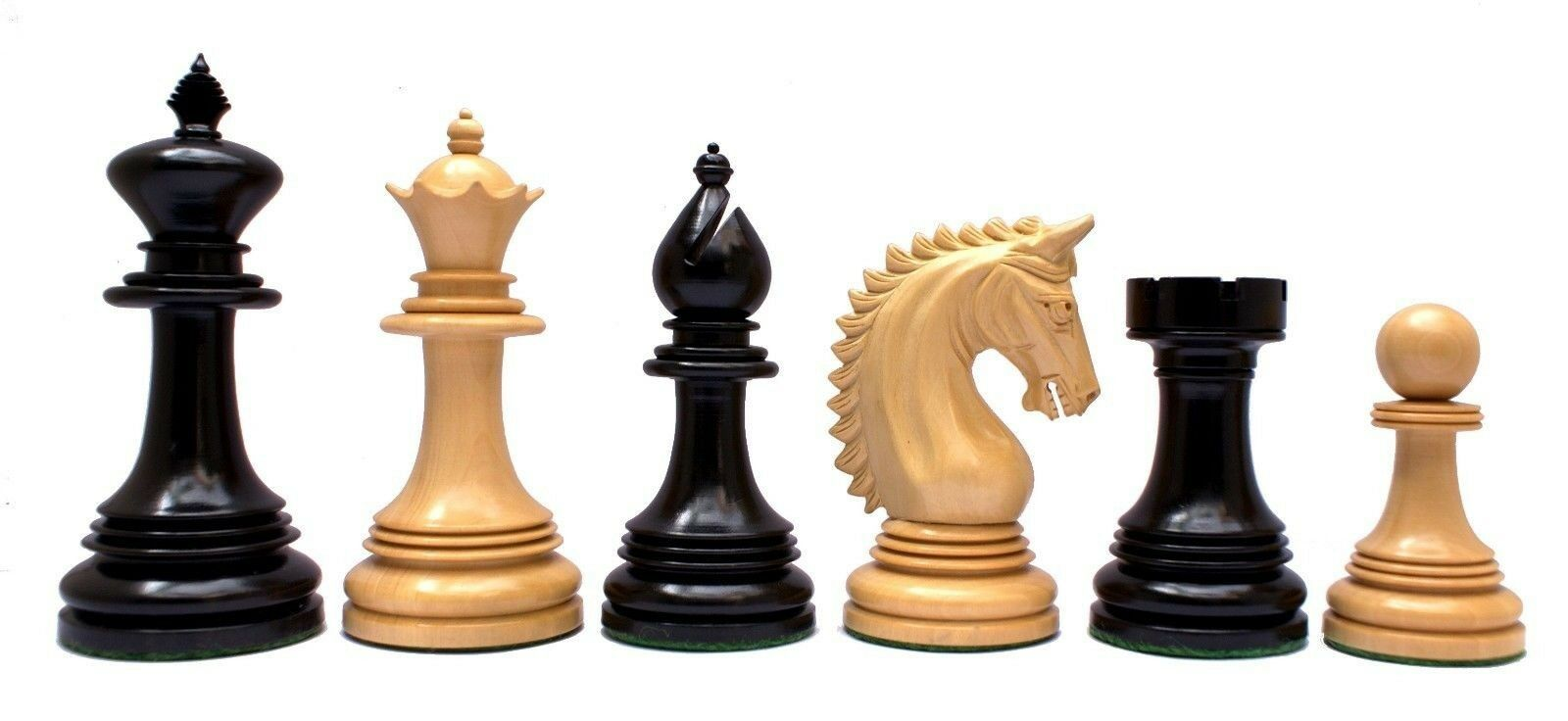 Miletus Series Staunton 4  Chess Pieces in Genuine Genuine Genuine Ebony Wood and Box wood 0a40f3