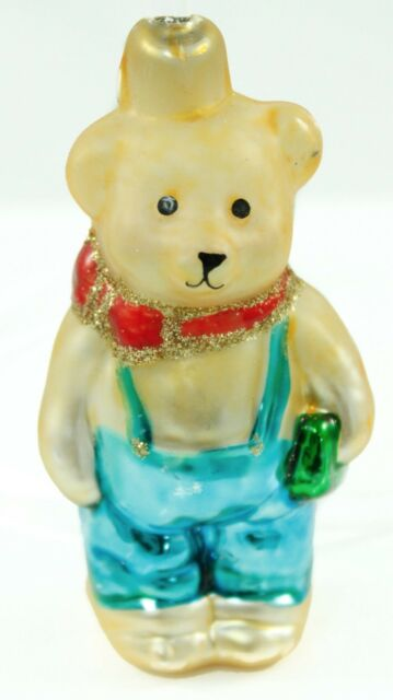 Vintage Gold Blue Bear Overalls Painted Glass Holiday Christmas Tree Ornament Ebay
