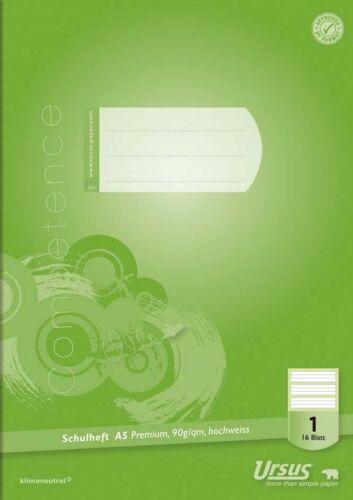 3 x Schulheft A5 Heft  Premium-Heft 16 Blatt 90g-Papier 13 Lineaturen wählbar