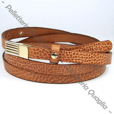 Candido Cintura Pelle Cuoio Marrone Donna Artigianale Made In Italy 1,5 Cm C0 Corrispondenza A Colori