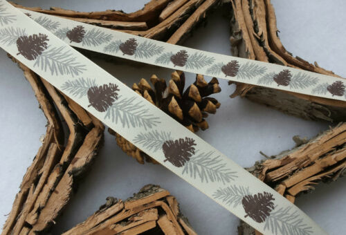 FIRCONES CREAM,BROWN,GREY GIFT BOWS 1m 25mm 16mm CHRISTMAS RIBBON RUSTIC,SCANDI