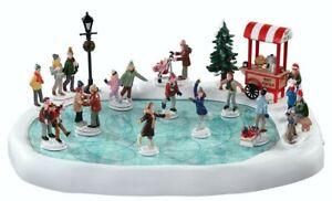 Lemax Christmas Village Animated & Musical Skating Pond w/Adaptor, Set of 18