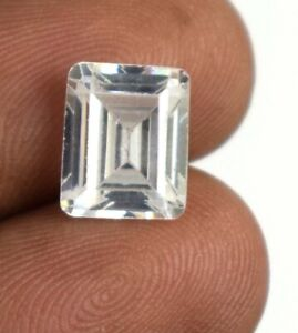 6 Ct White Sapphire Great Luster Gemstone Natural Octagon Cut Certified A15838