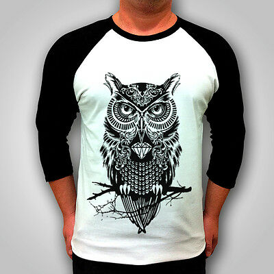 Mens Fresh Hipster Owl 3/4 Long sleeve Raglan T SHIRT tee Swag womens top
