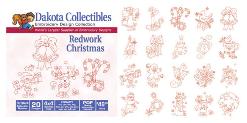 Dakota Collectibles Embroidery Machine Design CD Redwork Christmas 970474