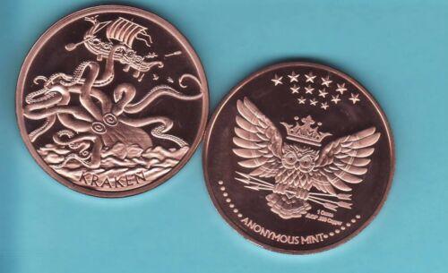 KRAKEN   1 oz Copper Round Coin
