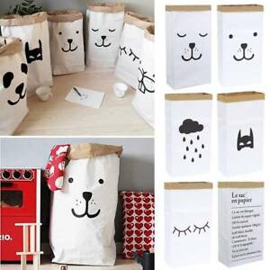New-Heavy-Kraft-Paper-Storage-Bags-Laundry-Bag-Toys-Clothes-Organizer-Home