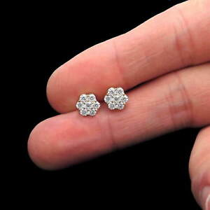 6921d4d4485e3 Details about 1CT Brilliant Created Diamond Cluster Earrings 14K Yellow  Gold 7-Stone Studs