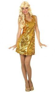 Deguisement-Femme-Disco-Dore-XL-44-Costume-Adulte-Annees-1980