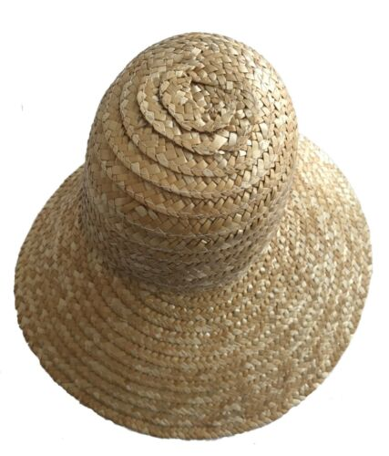 """Howell Lot of 4 Natural Large 11/"""" Bonnet Straw Sun Hats Dolls Bears Crafts R.B"""