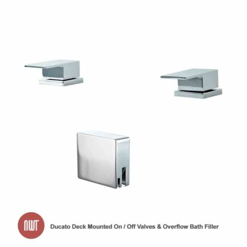 "/""Ducato/"" Deck Mounted On Bathroom Taps Off Valves /& Overflow Bath Filler"