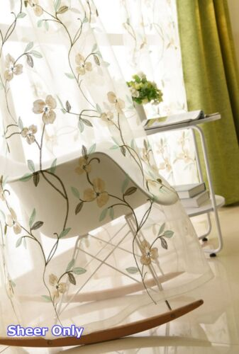 Embroidered Voile Gauze Transparent Tulle Floral Drape Window Treatment 1 Piece