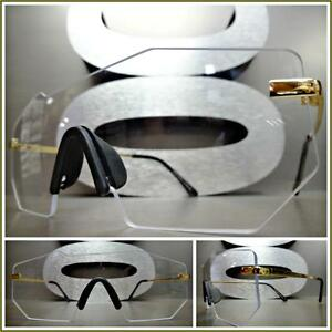 OVERSIZED EXAGGERATED SHIELD Style Clear Lens EYE GLASSES Rimless White Frame