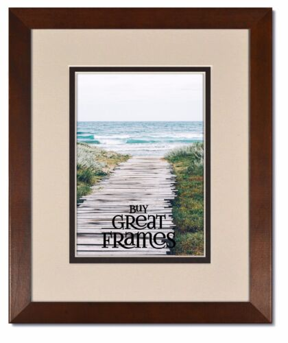 Madeline Walnut Wood Picture Frames with Oyster//Espresso Mats and Clear Glass