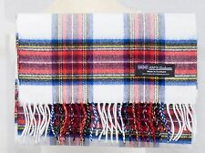 100% CASHMERE Scarf White Red Check Plaid Warm Graham SCOTLAND Wool Men ZS06