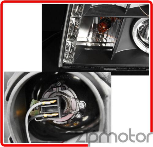 02-06 CADILLAC ESCALADE HALO DRL LED BLACK PROJECTOR HEADLIGHT W//6K HID 03 04 05
