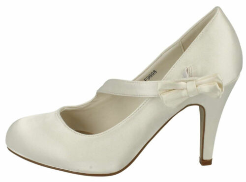 LADIES ANNE MICHELLE HIGH HEEL SATIN WEDDING COURT SHOES WITH BOW DETAIL F9698