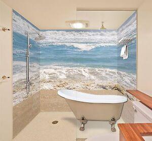 3d Spray Sea Beach Wallpaper Bathroom Print Decal Wall Deco Aj