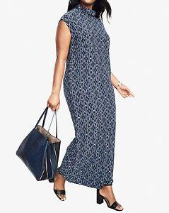 Roaman\'s Plus Size Navy Print Slouchy Turtleneck Dress Size 1X(22/24 ...