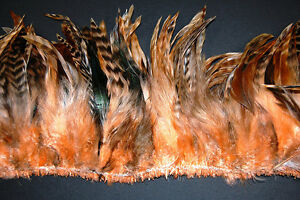 """SCHLAPPENS FRINGE DYED 2 Yards - PEACH 6-8"""" Trim Feathers Hats"""