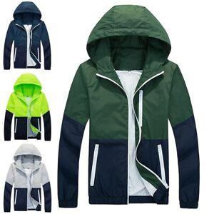 Men-039-s-Sunscreen-Windbreaker-ZIPPER-Jacket-hoodie-Light-Sports-Outwear-Coat-Gym