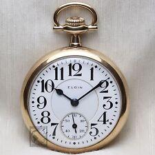 Gold 1914 Elgin BW Raymond 19 Jewel RAILROAD Grade Pocket Watch Antique 16s USA