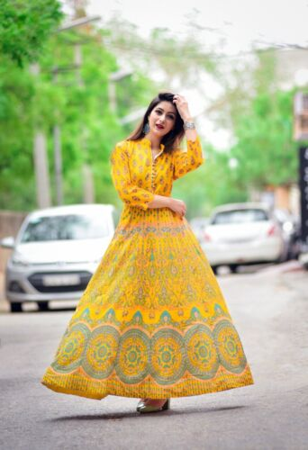 Indian Kurta Kurti Bollywood Pakistani Women Designer Long Tunic Top Anarkali