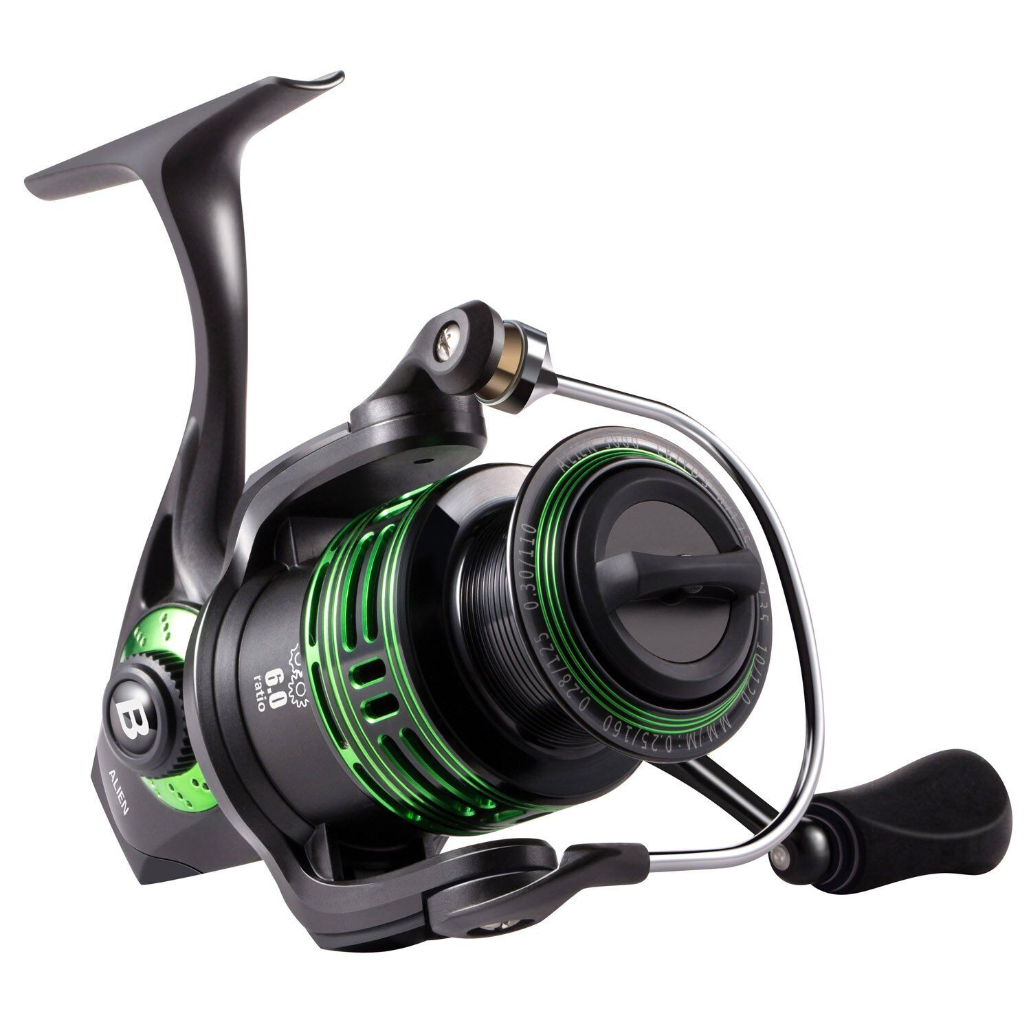 Bassdash Alien Ultra Lightweight Carbon Trout Spinning Fishing Reel with Corr...