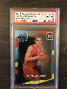 2017-18 Donruss Optic Lauri Markkanen Red Yellow Rookie PSA 10 Chicago Bulls RC