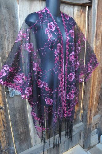 Jakke Kimono Sequin Fuschia På Glam Kort til Broderet at Sort I Kunst Os bære 4qHB8xw