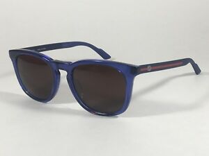 b7a03ccca4b Image is loading Gucci-Retro-Square-Sunglasses-Blue-Transparent-Frame-Brown-
