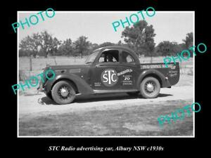 OLD-POSTCARD-SIZE-PHOTO-OF-THE-STC-RADIO-ADVERTISING-CAR-c1930s