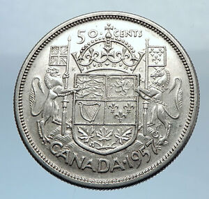 1957-CANADA-Large-SILVER-50-Cents-Coin-UK-King-GEORGE-VI-Coat-of-Arms-i71921