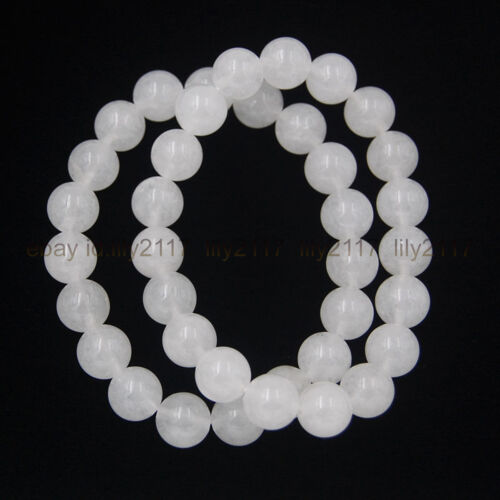 "Handmade 4mm-12mm beautifu White Jade Beads Stretch Charme Bijoux Bracelet 7.5/"""