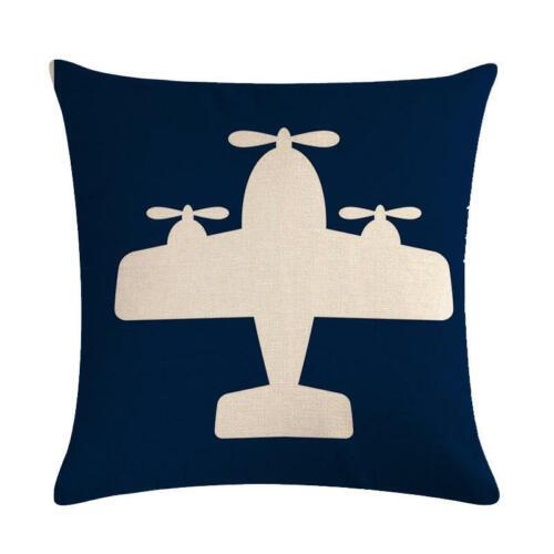 Plane Helicopter Fighter Cotton Linen Pillow Case Sofa Cushion Cover Home Decor