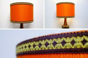 Original-Retro-Fabric-Lampshade-30cm-Drum-Orange-60s-70s-Vintage-Trim