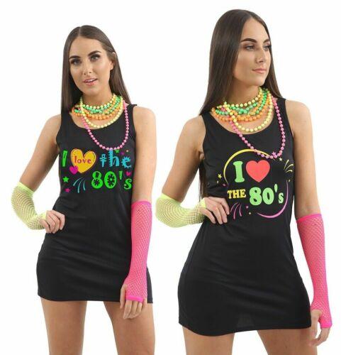 Womens Ladies I Love the 80s Black Dress T-Shirt Girls Hen Festival Fancy Dress