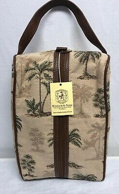 Sporting Goods Windsor & York Tote Palm Tree Motif Brown Leather Trim Shoe Bag Nwt $79.95
