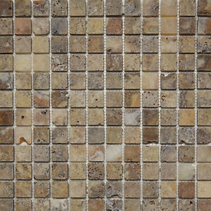 scabos travertine tumbled 1x1 mosaic backsplash bathroom