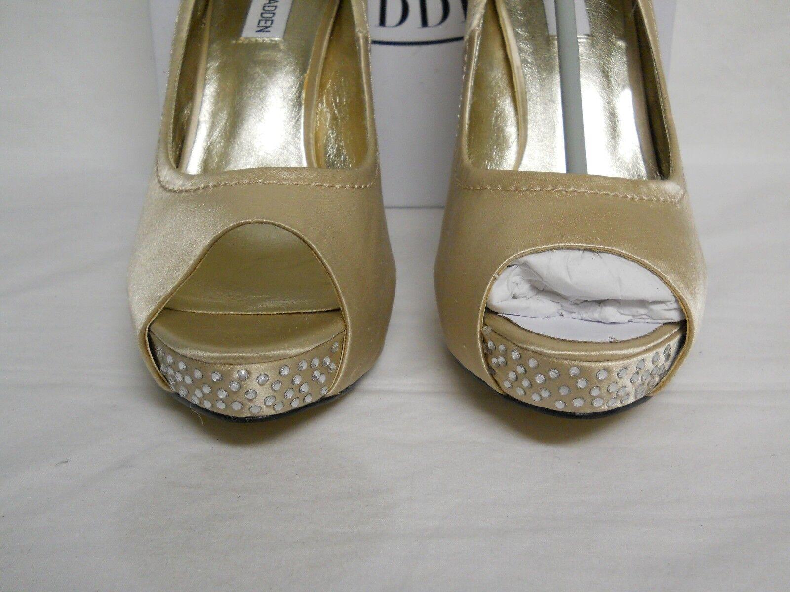 Steve Madden 10 M NEU Damenschuhe Feelixx Champagne Satin Open Toe Heels Schuhes NWB
